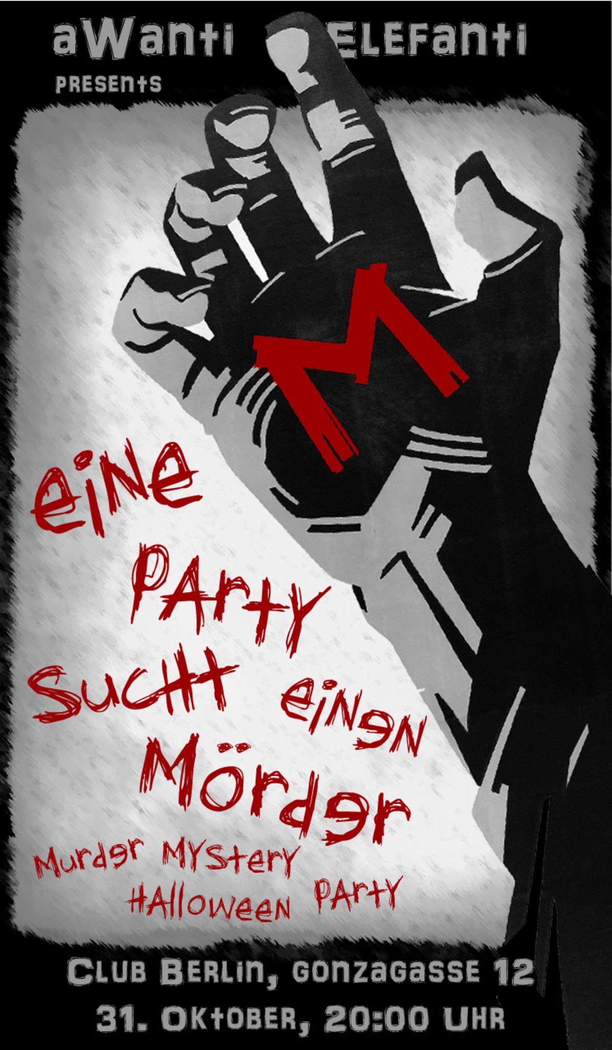 """m - eine party sucht einen mörder"""" - halloween party als murder"""