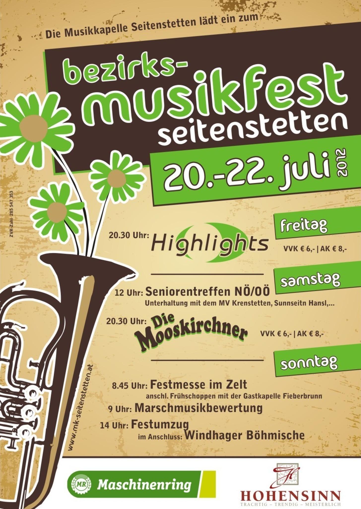 Bezirksmusikfest Seitenstetten 20. 22. Juli 2012 Amstetten