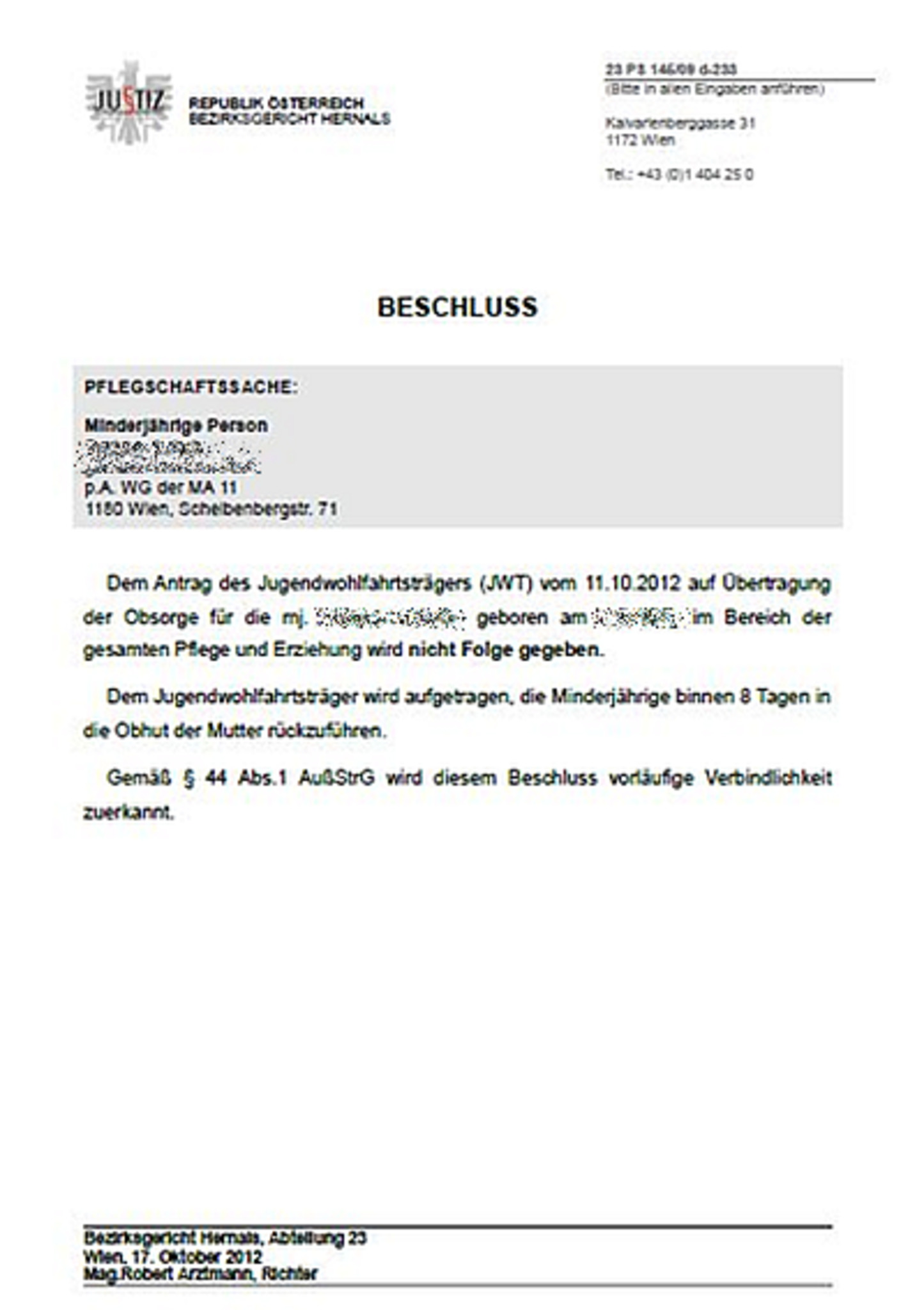 24. Oktober 2012; Eine unendliche Geschichte Floridsdorf