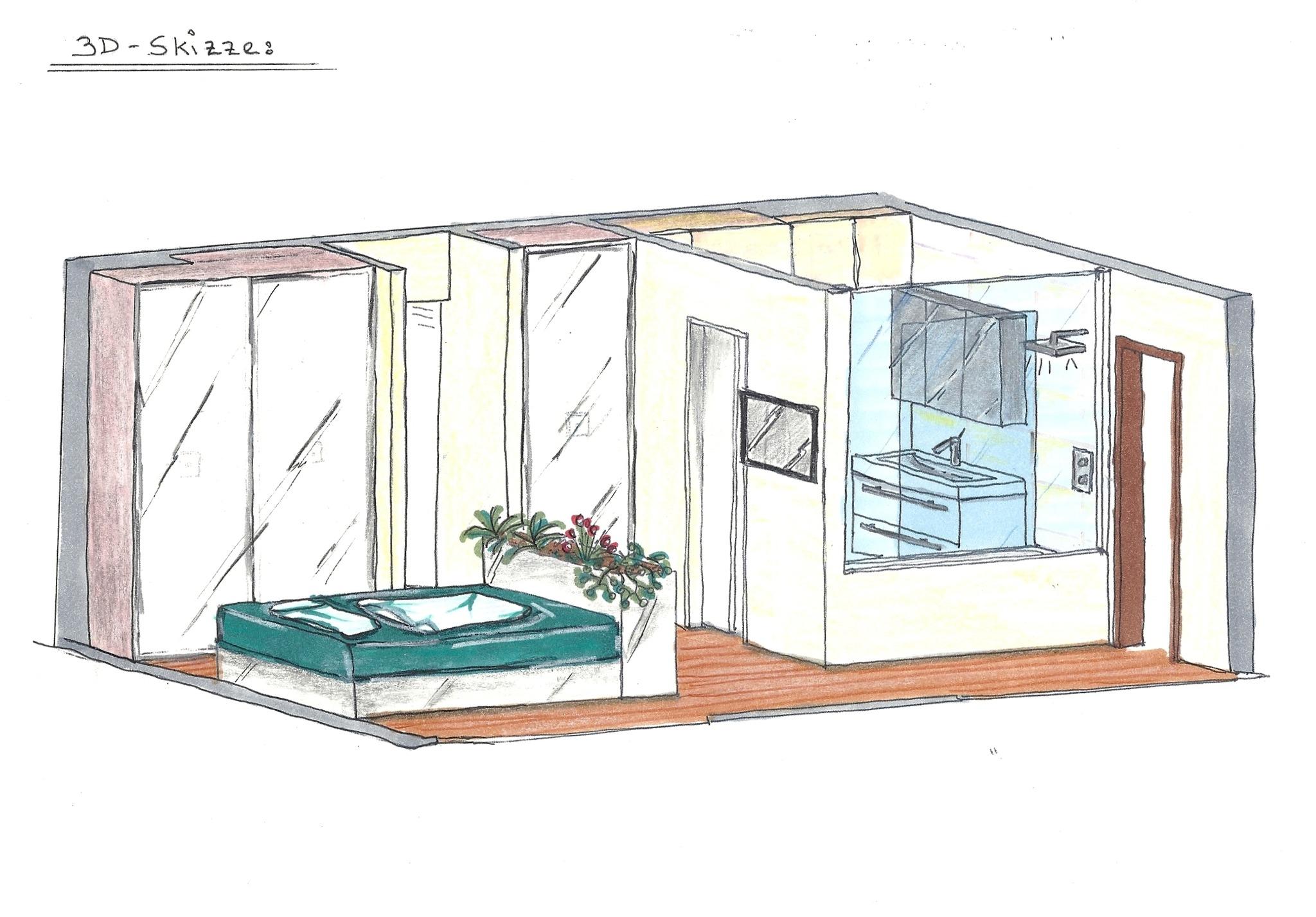 Ideen zur kombination schlafzimmer und badezimmer for Schlafzimmer kombination