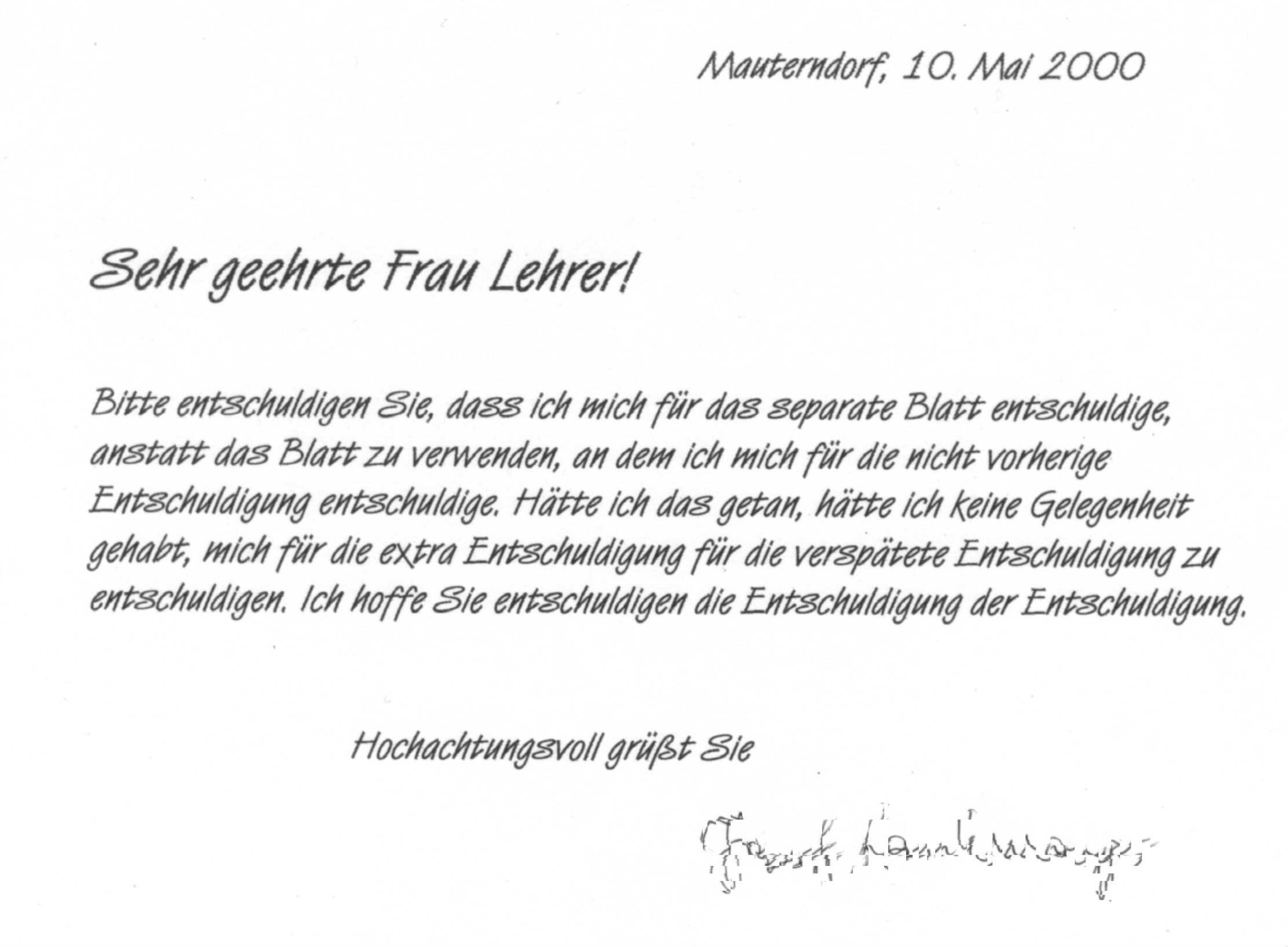 Schreiben lehrerin brief die entschuldigung an Entschuldigungsschreiben