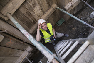 Archäologe Martin Mosser bei den Grabungen in der Bognergasse.