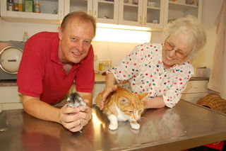 Tierarzt Antonius Mensdorff-Pouilly und Gertrude Dober mit ihrem Kater Nino