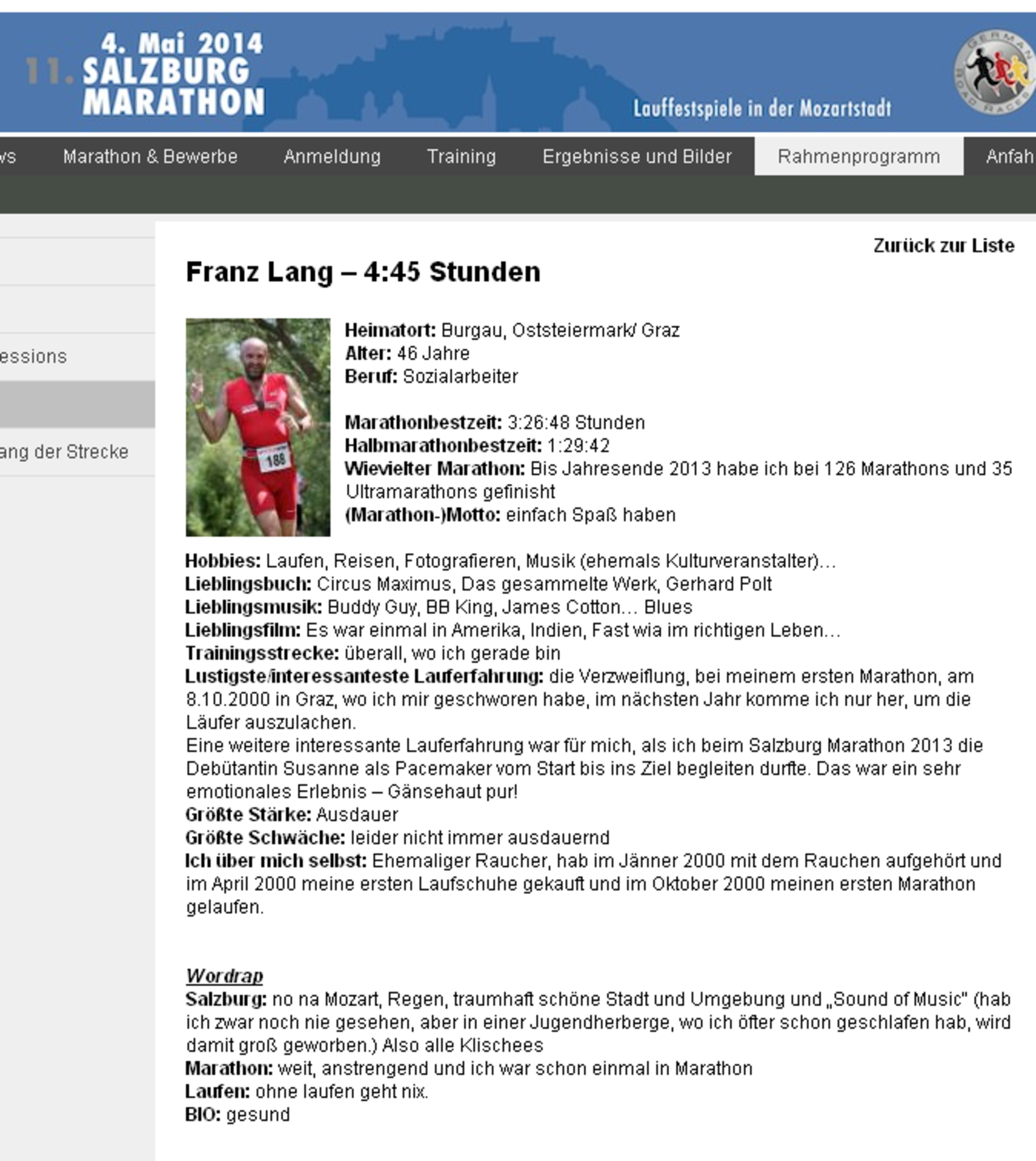 Vorschau: Salzburg Marathon, Pacemaker