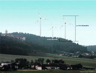 Die 200 Meter hohen Megawindräder würden auch die Schallaburg in den Schatten stellen, so die Bürgerinitiative.