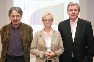 Johann Engleitner, Wissenschaftlicher Projektverantwortlicher EQ, Bildungslandesrätin Doris Hummer und Fritz Enzenhofer, Amtsführender Landesschulratspräsident OÖ (v. l.).