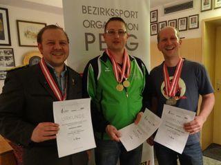 Sieger Allgemeine Klasse 10m Armbrust v.l. LSPL Stefan Ehrentraut, Karl Neulinger, Martin Spindlberger