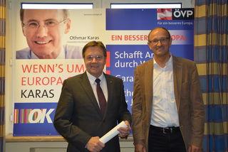 LH Günther Platter und LA Toni Mattle beim Gespräch über aktuelle Themen aus dem Bezirk Landeck.