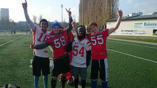 Unsere Teilnehmer am Junioren (U19) Nationalteam Probetraining (von links: Maylan Bacher, Thomas Bernsteiner, Timi Adesanya, Raphael Klein).
