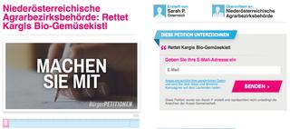 Wenn auch Sie die Familie Kargl aus Großglobnitz unterstützen wollen, unterschreiben Sie die Online-Petition: https://avaaz.org/de/petition/Niederoesterreichische_Agrarbezirksbehoerde_Rettet_Kargls_BioGemuesekistl/edit#