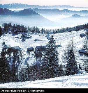 Winter auf der Bürgeralm, einer der schönsten Almen der Hochsteiermark, Winterwander- und Skitourenparadies.
