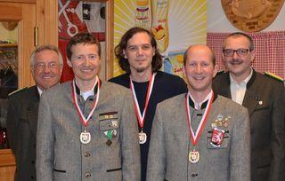 v.l. Franz Maurer (Wettkampfleiter), Harald Schimböck, Claus Hofer, Martin Spindlberger (MF), Friedrich Froschauer (Bez. Schützenmeister)