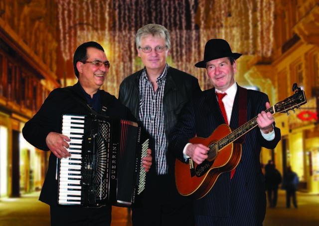 Gerhard Blaboll mit Mitke Sarlandziev und Slavko Ninic beim Wiener Tschuschenkabarett