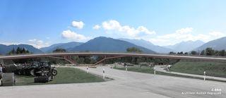 Das Siegerprojekt sieht eine rund 100 Meter lange Brücke mit einem darunter liegenden Kreisverkehr vor.