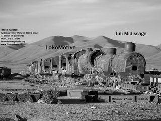 """Juli Midissage """"LokoMotive"""" flyer, photography by Lisa Sinn;"""