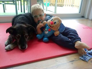 Der kleine Raphael aus Nußbach liebt Hunde. Mit der Hundetherapie macht er auch merkliche Fortschritte.