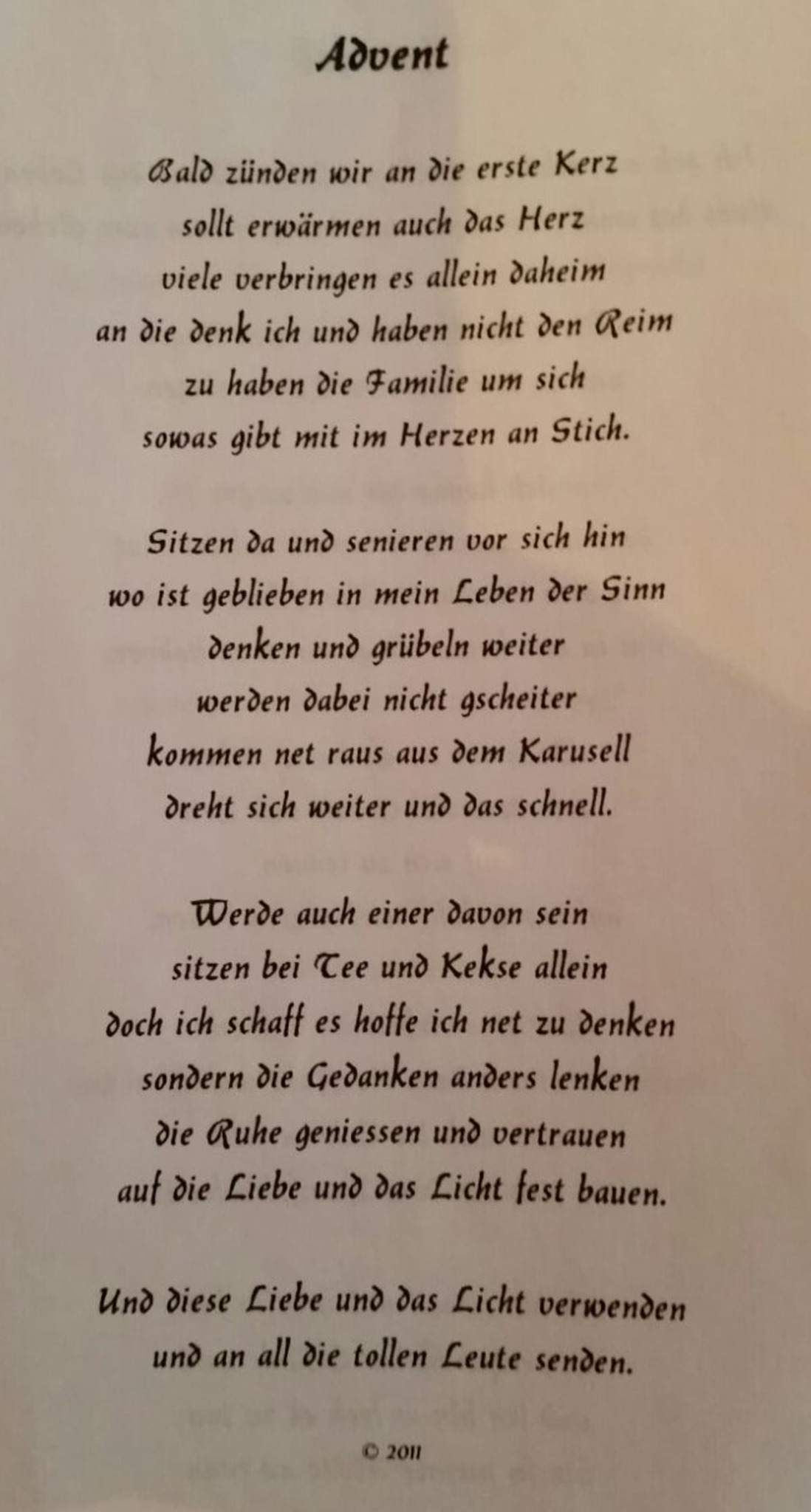 Advent Gedicht Pongau