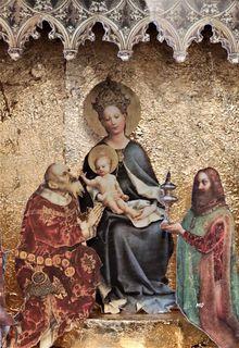 15. Jhdt., Bilderkrippe, Maria mit Kind, Stephan Lochner