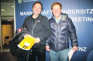 """Murtaler Trainerduo: Burkhard Schaffer (links) und Sepp Brunner, die """"Medaillenschmiede"""" der Kanadier und Schweizer Skifahrer."""