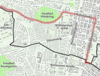 Die rote Linie begrenzt die Überlappungszone in Richung Ottakring - südlich davon dürfen auch die Penzinger parken.