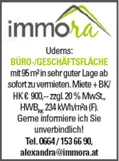 BÜRO-/GESCHÄFTSFLÄCHE in Uderns in sehr guter Lage ab sofort zu vermieten. Mehr Infos unter: Tel.: 0664-153 66 90, E-mail: alexandra@immora.at
