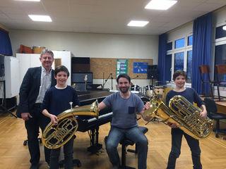 Musikschuldirekor Erich Ott, Peter Rosen, Lehrer Johann Schiestl und Andreas Rosen