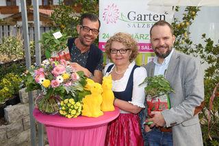 Karl Ploberger ORF Gartenexperte, Maria Awender Innungsmeisterin der Salzburger Gärtner u. Floristen, Wolfgang Baumgartner Abteilungsleiter Messen