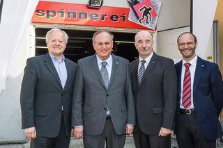 Karl Steininger (AMS), WK-Präsident Rudolf Trauner, Manfred Benischko, Gernot Grammer (AMS) (v. l. n. r.).