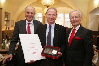 Günter Rübig (Obmann sparte.industrie), Christof Piesslinger, Heinz Moosbauer (Geschäftsführer sparte.industrie) (von links).