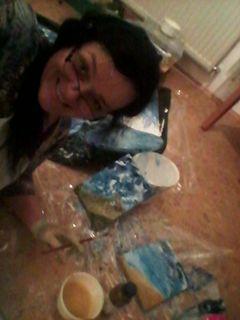 malen am Boden meiner kleinen Malstube