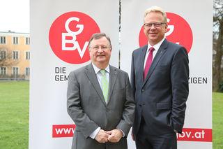Christian Wintersteller Obmann der gemeinnützigen Bauvereinigungen Salzburgs und Obmann-Stv. Markus Sturm.