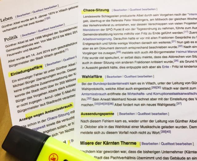 """""""Affäre"""", """"Misere"""", """"Amtsmissbrauch"""": Der Wikipedia-Eintrag über Günther Albel geht ins Details"""