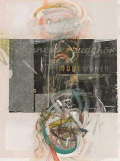 """Martin Staufner, """"Wien 1. Bezirk-Schneiderzubehör+Mode"""", Mischtechnik auf Aquarellpapier, 42 x 32 cm, 2016"""