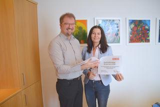 Georg Gumpinger und Melanie Eckhardt präsentierten die Studie zur Kaufkraftentwicklung im Bezirk Mattersburg.