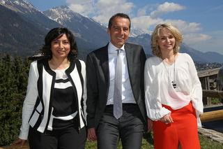 Spitzenkandidatin für die Nationalratswahl Selma Yildirim, Bundeskanzler Christian Kern, Tiroler  SPÖ-Vorsitzende und Spitzenkandidatin für die Landtagswahl Elisabeth Blanik.