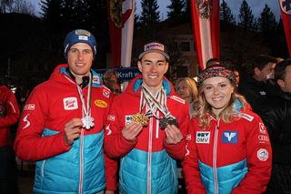 Schwarzach und Goldegg sind stolz auf die so erfolgreichen WM-Teilnehmer, allen voran der Doppelweltmeister und Skisprung-Rekordhalter Kraft-Adler Stefan.