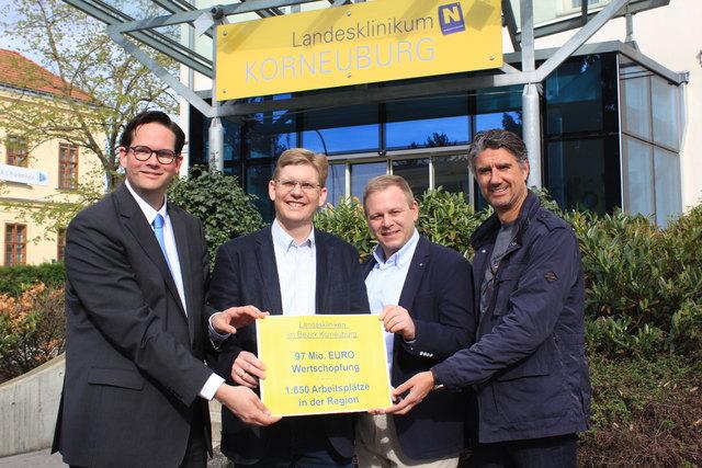 Gerasdorfs Vizebürgermeister Lukas Mandl, NÖAAB-Bezirksobmann Peter König, designierter Bezirksobmann Matthias Dieser und Stadtobmann Wolfgang Ebner.
