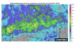 24-stündige Niederschlagssumme (17.04., 06 Uhr bis 18.04., 06 Uhr)