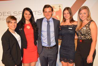 """""""Hahn im Korb"""": Nicole Schmidhofer, Lisa Wusits, Matthias Mayer, Ivonne Wiener und Verena Eberhardt"""