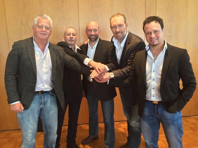 Klaus Hartmann, Schriftführer Peter Zürcher, Herbert Hohenberger,  Michael Kummerer, Verbandskoordinator Michael Löschnig (v. li.)