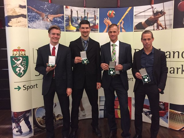 Stefan Schriebl, Andreas Rois, Michael Kügerl und Felix Ramprecht wurden geehrt.