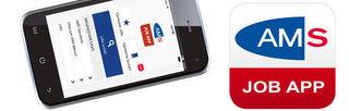 Die neue AMS Job-APP, für Iphone, Smartphone und Tablett.