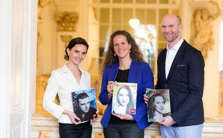 Oksana Lyniv, Nora Schmid und Jörg Weinöhl präsentieren das neue Programm der Oper Graz. Foto: Oper Graz