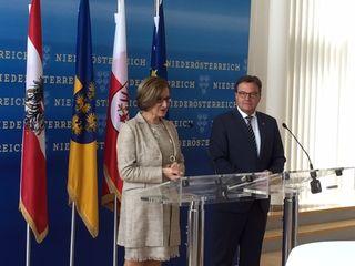 Gemeinsam gegen Zentralismus und für die Stärkung der Regionen. Landeshauptfrau Mikl-Leitner empfing Tirols LH Günther Platter zu einem ersten Arbeitsgespräch in St. Pölten