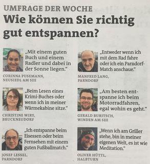 Originalumfrage der Woche in der Bezirksblätter-Ausgabe vom 10./11. Mai 2017