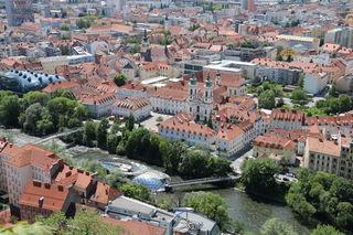 Murinsel, Graz, Foto vom Grazer Schloßberg, Mariahilferkirche, Mariahilferplatz