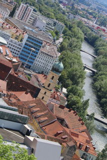 Ausblick vom Grazer Schloßberg auf die Mur