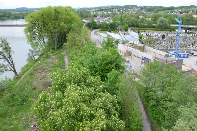 Das Sandsacklager (r.) wird in der Nähe zum Inn errichtet – ist aber selbst durch einen Erdwall vor den Fluten geschützt.