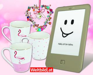 """Gewinnen Sie eines von 2 Paketen, jeweils mit einem eReader tolino page mit vorinstalliertem eBook, dem  3er Set Kaffeebecher """"Flamingo"""" und einem hübschen Dekohänger in Herzform"""