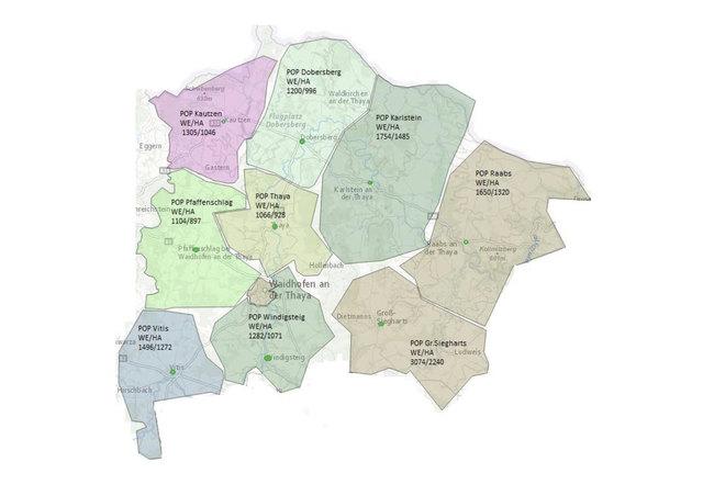Der Glasfaser-Ausbau im Bezirk: Die Points of Presence sind nicht unbedingt mit den Gemeindegrenzen identisch.